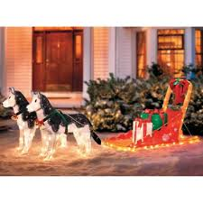 lighted dog christmas lawn ornament lighted christmas sleigh with huskies must get so cute chrismas