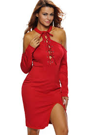 red lace up zipper back bodycon dress club dresses