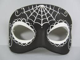 Day Of The Dead Mask Reverse Day Of The Dead Black And White Leather Mask Unisex
