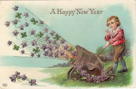 new year post card a happy new year gel coated postcard cannon firing violets