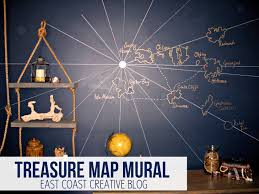treasure map wall mural knock it off diy project east coast thanks to a mini projector getting the actual pirates of the caribbean map on the wall was a breeze