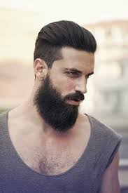 awesome slicked back hairstyle with thick bread for men 2015 2016