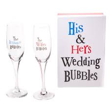 wedding gift hers uk the bright side his hers wedding bubbles chagne flute gift