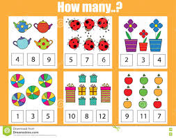 counting educational children game how many objects task stock