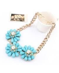 light blue statement necklace light blue gemstone floral statement necklace ac0020019 1