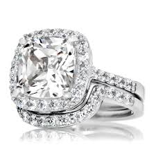faux engagement rings cushion cut cz halo wedding ring set 10mm