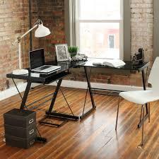 walker edison soreno 3 piece corner desk black with black glass