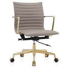 Leather Chairs Office Furniture Office Marquis Leather Office Chair Gold Gray Modern