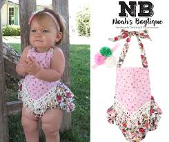 Vintage Style Baby Clothes Baby Ruffle Romper Vintage Inspired Lace Details