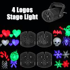 4 logos halloween led snowflake projector colorful rotating light