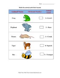 animal sound matching worksheets 5 kidschoolz