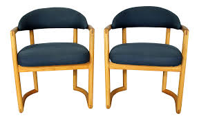 pair scandinavian style bentwood oak arm chairs with blue