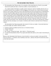 intermediate value theorem study resources