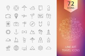 Line art travel icons on behance
