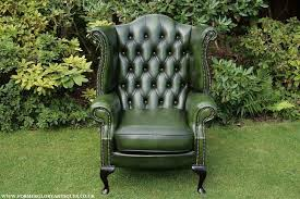 Armchair Sales Uk Antique Green Leather Chesterfield Button Wing Back Armchair For