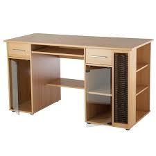 Beech Computer Desk by Computer Desk Pc Workstation Media Storage Glass Doors Amazon