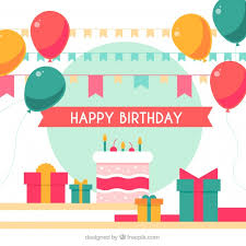 birthday cake background and balloons vector free download