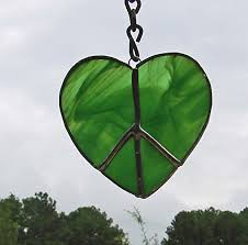 amazon com green shaped peace sign handmade stained glass