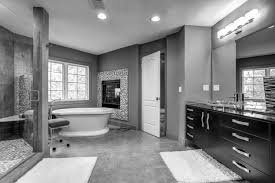 black and white gray bathroom white marmer flooring steel panel