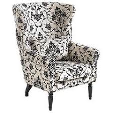 Damask Chair Black And White Winged Chair