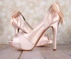 wedding shoes platform blush platform peep toe wedding shoes with matching bow ellie wren