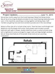 rehabilitation center floor plan waterford rehab center project update 6 11 2015 sunset communities