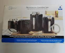 mainstays black kitchen canister set set of 4 u2022 15 99 picclick