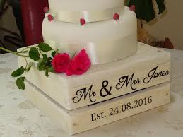 wedding cake stand vintage personalised wedding cake stand crate style 16 inch the