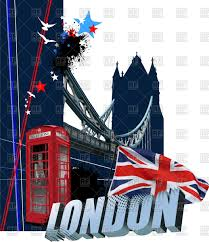 cover of brochure with symbols of great britain tower bridge