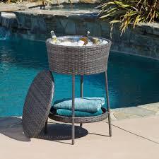 Cheap Patio Furniture Los Angeles Rosin Grey Pe Wicker Ice Bucket Contemporary Patio Los