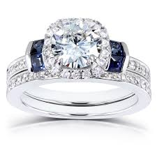 wedding rings set forever one ghi moissanite with diamond blue sapphire wedding