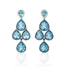 blue topaz earrings 32ct diamond blue sapphire and blue topaz 18k white gold and