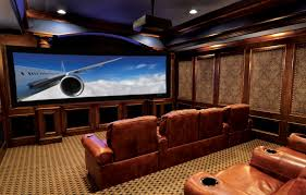 Home Theater Ceiling Lighting Home Theater Design In Modern Style With Three Lighting Fixtures