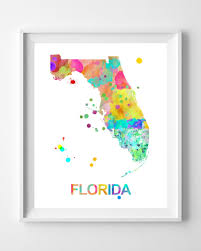 Map Of Florida State by Florida State Map Painting Art Print Illustration Home