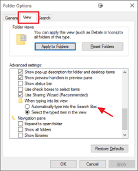how to search in windows file explorer by just typing
