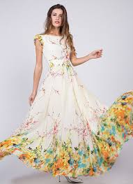 light yellow prom dresses artsy yellow chiffon floral prom dress with rainbow floral print and