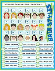 hair style esl english worksheets matching hair styles