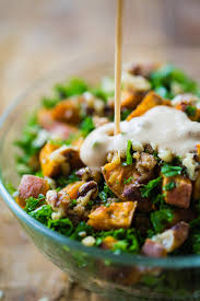 roasted sweet potato salad with candied walnuts recipe pinch of yum