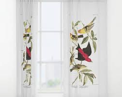 Double Panel Curtains Birds Window Curtain Etsy