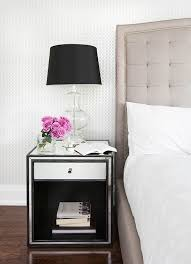Silver Leaf Nightstand Black Velvet Bed With White Bedding And Silver Leaf Lamp
