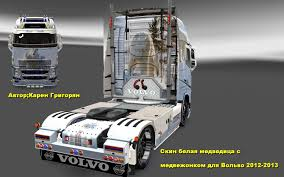 white volvo truck volvo fh 2013 white bear skin mod euro truck simulator 2 mods