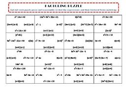 factoring puzzle worksheets students and math