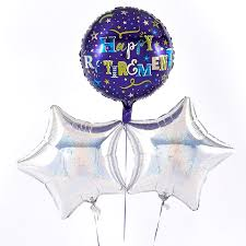 retirement balloon bouquet happy retirement silver balloon bouquet inflated free delivery