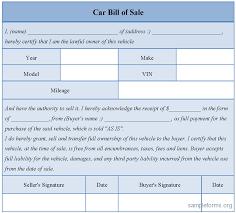 sample car bill of sales