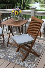Outdoor Bistro Chair Cushions Square 3pc Square Bistro Set With Grey Weather Resistant Cushions