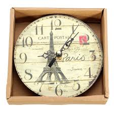 Eiffel Tower Home Decor Accessories 12cm Vintage Eiffel Tower Wood Wall Clock Tower Vintage Rustic