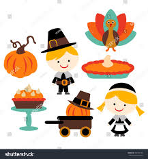 thanksgiving vector pumpkin pie turkey stock vector 340182158