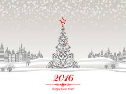 2016 new year with christmas tree winter background vector 03