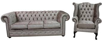 Chesterfield Velvet Sofa by Chesterfield 3 Seater Settee Queen Anne Wing Chair Shimmer Mink