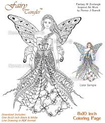 fay goddess fairy tangles printable coloring sheets